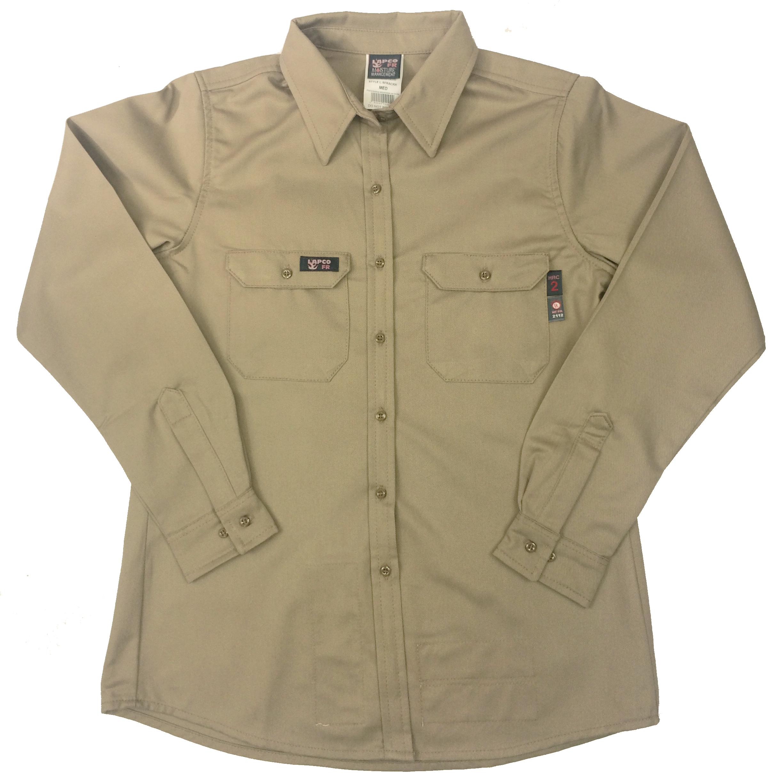 Lapco Women S Flame Resistant Khaki Shirt Lsfrackh