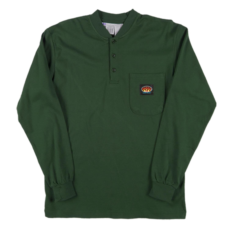 Rasco Flame Retardant Green Henley Shirt Grf460