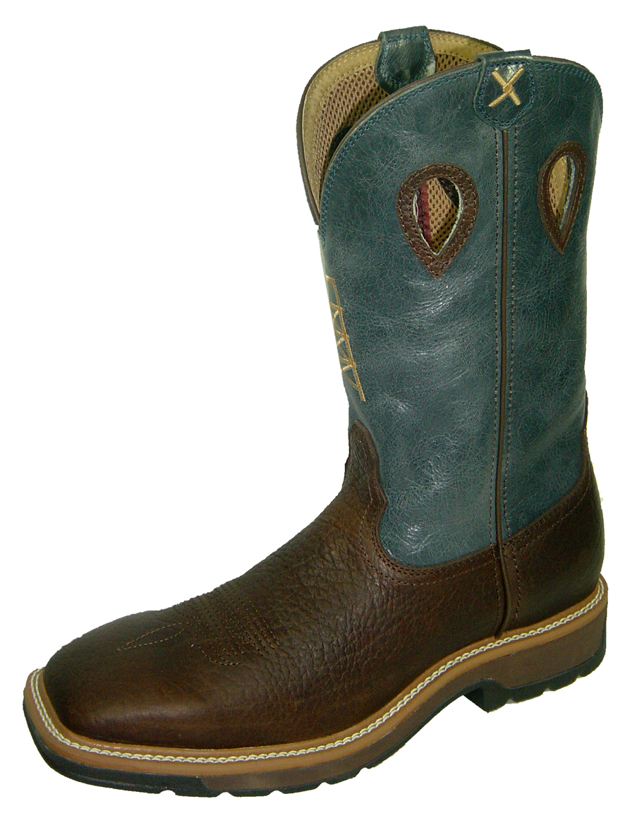 Twisted X Blue Cowboy Steel Toe Work Boots Mlcs006