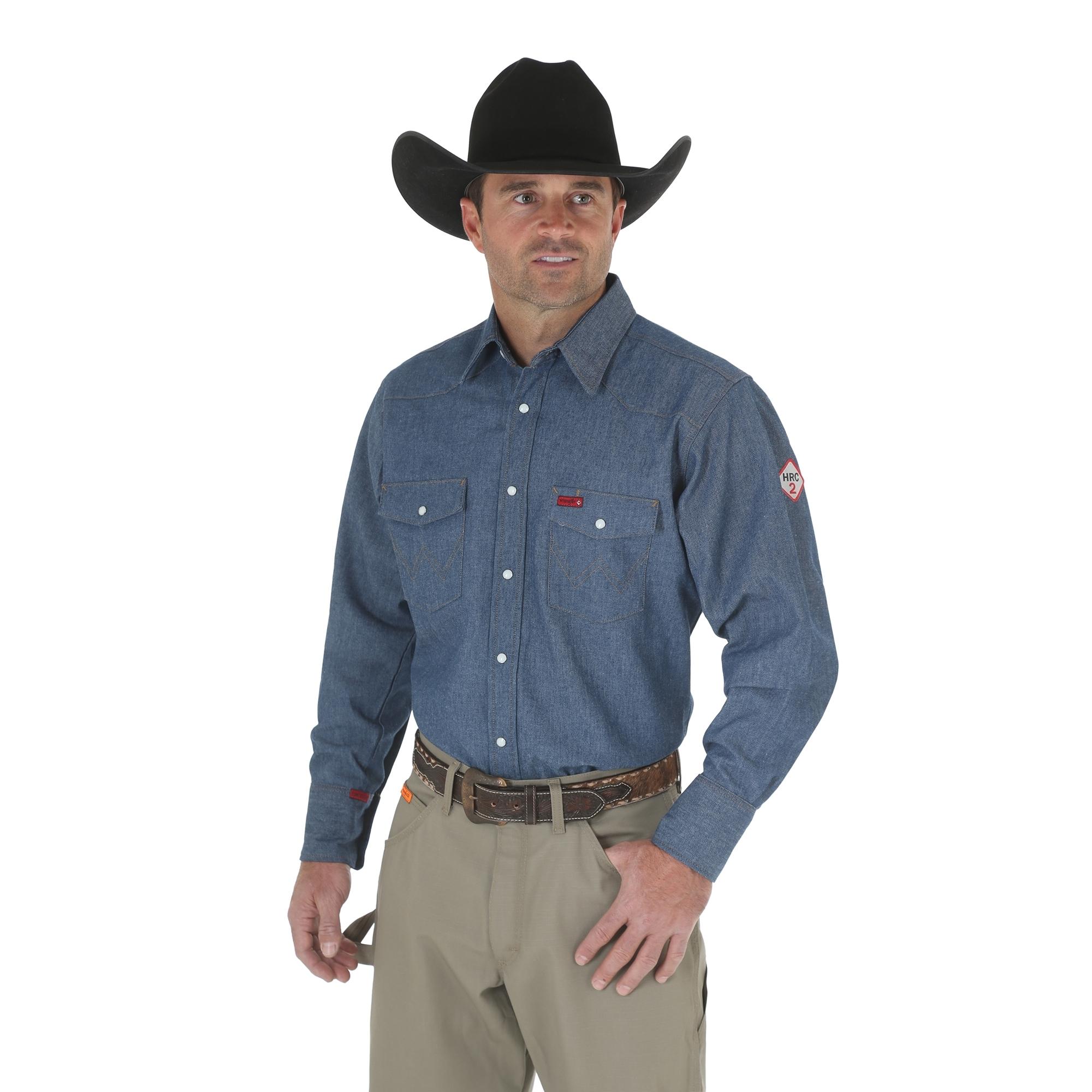 Wrangler denim fire retardant work shirt fr12127 for Flame resistant work shirts