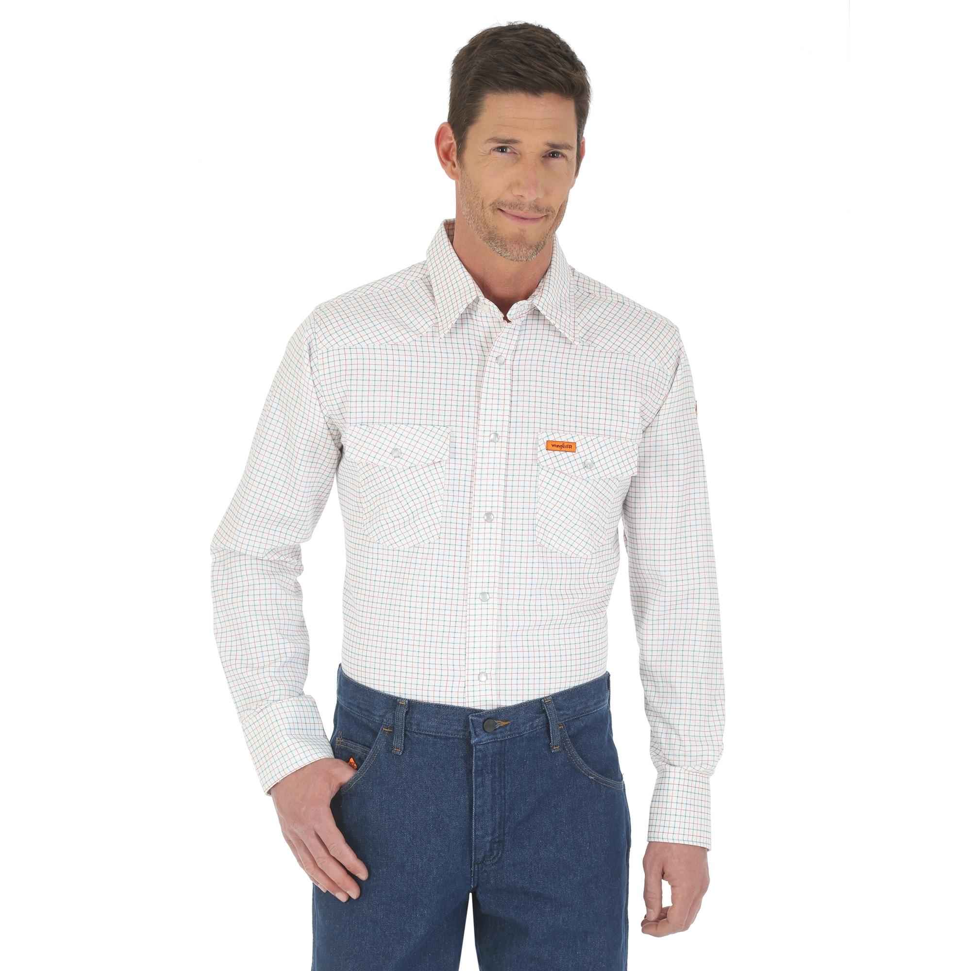 Wrangler Flame Resistant Western Shirt White Fr130wh