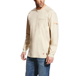 Ariat FR Air Crew T-Shirt - Sand Heather tee, frc, flame, resistant, retardant, tan, beige