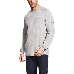 Ariat FR Air Crew T-Shirt - Silver Fox Heather tee, frc, flame, resistant, retardant, gray, grey