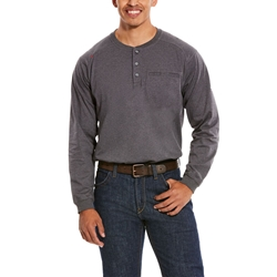 Ariat FR Air Henley Top - Charcoal Heather tee, frc, flame, resistant, retardant, shirt, dark, grey, gray