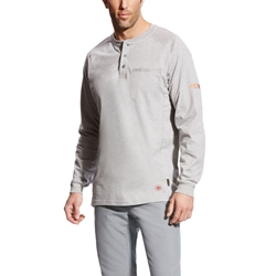 Ariat FR Air Henley Top - Silver Fox Heather tee, frc, flame, resistant, retardant, shirt, grey, gray