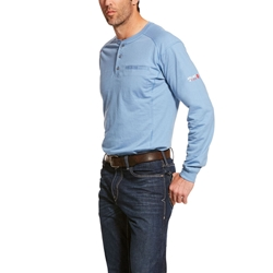 Ariat FR Air Henley Top - Steel Blue tee, frc, flame, resistant, retardant, shirt