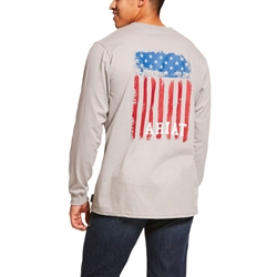 Ariat FR Americana Graphic T-Shirt - Silver Fox tee, frc, flame, resistant, retardant, shirt, american, flag, grey, gray