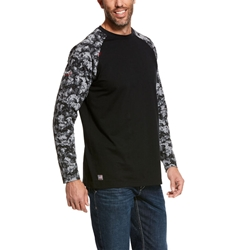 Ariat FR Baseball T-Shirt - Black Digi Camo tee, frc, flame, resistant, retardant, long sleeve, base, layer, digital