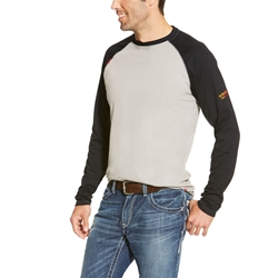 Ariat FR Baseball T-Shirt - Gray/Black tee, frc, flame, resistant, retardant, grey, long sleeve, base, layer