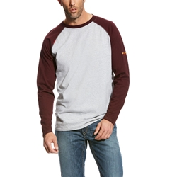 Ariat FR Baseball T-Shirt - Gray/Malbec tee, frc, flame, resistant, retardant, grey, long sleeve, base, layer, maroon