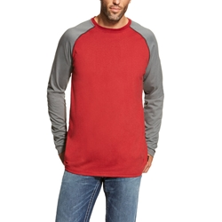 Ariat FR Baseball T-Shirt - Red/Dark Gray tee, frc, flame, resistant, retardant, grey, long sleeve, base, layer