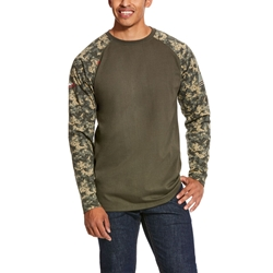 Ariat FR Baseball T-Shirt - Sage Digi Camo tee, frc, flame, resistant, retardant, long sleeve, base, layer, digital