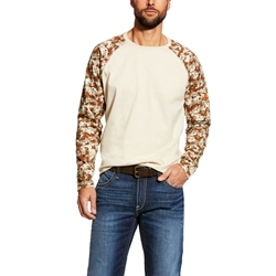 Ariat FR Baseball T-Shirt - Sand Digi Camo tee, frc, flame, resistant, retardant, long sleeve, base, layer, digital, khaki, tan, beige