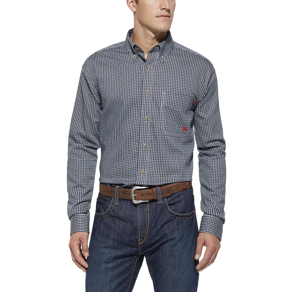 Ariat FR Blue Multi Plaid Work Shirt