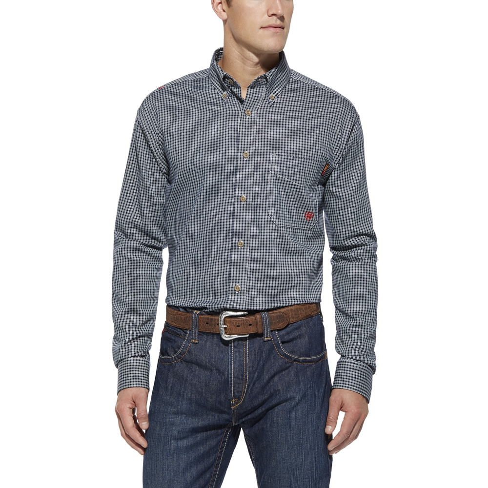 Ariat Fr Blue Plaid Western Work Shirt Fire Retardant