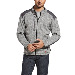 Ariat FR Caldwell Full Zip Sweater Jacket - Charcoal Heather flame, resistant, retardant, frc, hood, gray, grey, zipper