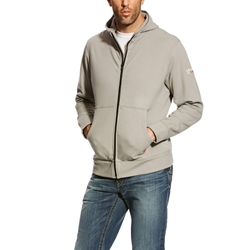 Ariat FR DuraStretch Full Zip Hoodie - Silver Fox flame, resistant, retardant, frc, hood, gray, grey