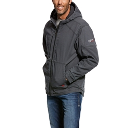 Ariat FR Duralight Stretch Canvas Jacket flame, resistant, retardant, frc, full, zip, hood, hooded, iron, grey, gray