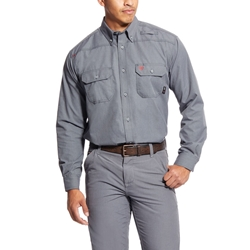 Ariat FR Featherlight Work Shirt - Gunmetal flame, fire, resistant, frc, retardant, long sleeve, button down, grey, gray