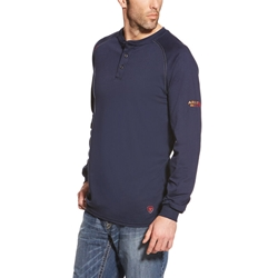 Ariat FR Henley Top - Navy tee, frc, flame, resistant, retardant, shirt, long sleeve, henly