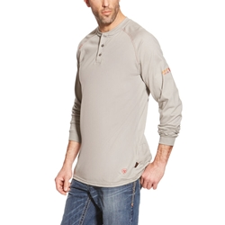 Ariat FR Henley Top - Silver Fox tee, frc, flame, resistant, retardant, shirt, long sleeve, henly, grey, gray