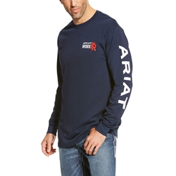 Ariat FR Logo T-Shirt - Navy tee, frc, flame, resistant, retardant, shirt, work