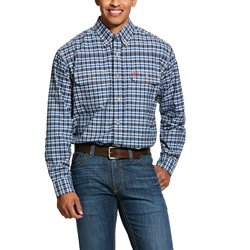 Ariat FR Plaid Featherlight Work Shirt - Navy Plaid flame, fire, resistant, frc, retardant, long sleeve, button down
