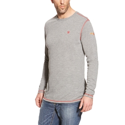 Ariat FR Polartec Base Layer Tee - Light Gray flame, resistant, retardant, frc, tee, t-shirt, grey, heather