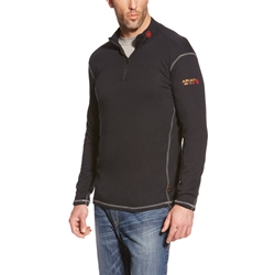 Ariat FR Polartec Quarter Zip Base Layer - Black flame, resistant, retardant, frc, pullover, pull, over