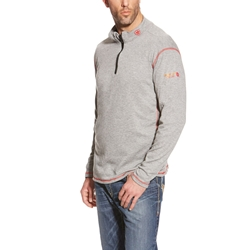 Ariat FR Polartec Quarter Zip Base Layer - Heather Gray flame, resistant, retardant, frc, pullover, pull, over, grey
