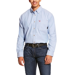 Ariat FR Solid Twill DuraStretch Work Shirt - Blue Twill flame, fire, resistant, frc, retardant, long sleeve, button down
