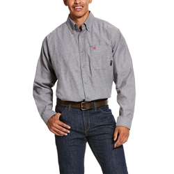 Ariat FR Solid Twill DuraStretch Work Shirt - Dark Navy Twill flame, fire, resistant, frc, retardant, long sleeve, button down