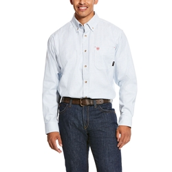 Ariat FR Solid Twill DuraStretch Work Shirt - White Multi flame, fire, resistant, frc, retardant, long sleeve, button down