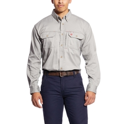 Ariat FR Solid Vent Shirt - Silver Fox flame, fire, resistant, frc, retardant, long sleeve, button down, gray, grey