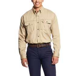 Ariat FR Solid Vent Shirt - Khaki flame, fire, resistant, frc, retardant, long sleeve, button down, tan