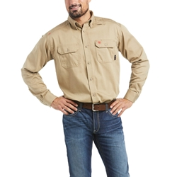Ariat FR Solid Work Shirt - Khaki flame, fire, resistant, frc, retardant, long sleeve, button down, tan