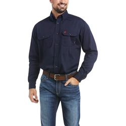 Ariat FR Solid Work Shirt - Navy flame, fire, resistant, frc, retardant, long sleeve, button down