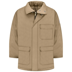 Bulwark FR Heavyweight Excel Comfortouch Insulated Deluxe Parka - Khaki flame, resistant, winter, warm, coat, jacket, cold, fire, arc, flash, tan, beige, brown