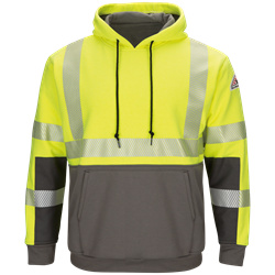 Bulwark FR Hi-Vis Color Block Pullover Fleece Sweatshirt - Class 3 flame, resistant, retardant, arc, flash, fire, bright, yellow, green, grey, gray, ppe, safety, hi, vis, viz, tape, visibility, high, fleece, full
