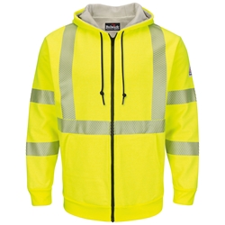 Bulwark FR Hi-Vis Zip Front Hooded Sweatshirt with Waffle Lining - Class 3 flame, resistant, retardant, arc, flash, fire, bright, yellow, green, ppe, safety, hi, vis, viz, tape, visibility, high, fleece, full