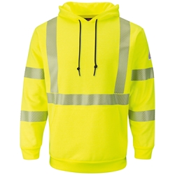 Bulwark FR Hi-Visibility Fleece Pullover Hoodie - Class 3 flame, resistant, retardant, arc, flash, fire, bright, yellow, green, ppe, safety, hi, vis, viz, tape, visibility, high, sweatshirt, hooded