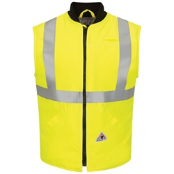 Bulwark FR Hi-Visibility Insulated Vest - Class 2 winterwear, hi-vis, hi-viz, high, reflective, tape, striping, type r, flame, fire, retardant, resistant, frc, workwear
