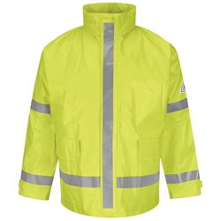 Bulwark FR Hi-Visibility Rain Jacket - Class 2 flame, resistant, retardant, arc, flash, fire, bright, yellow, green, ppe, safety, hi, vis, viz, tape, visibility, high