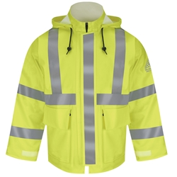 Bulwark FR Hi-Visibility Rain Jacket - Class 3 flame, resistant, retardant, arc, flash, fire, bright, yellow, green, ppe, safety, hi, vis, viz, tape, visibility, high