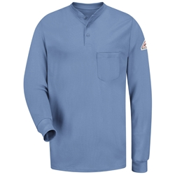 Bulwark FR Long Sleeve Tagless Henley - Light Blue lightweight, tag-less, flame, resistant, retardant, arc, flash, fire, mens, shirt