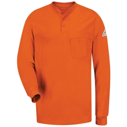 Bulwark FR Long Sleeve Tagless Henley - Orange lightweight, tag-less, flame, resistant, retardant, arc, flash, fire, mens, shirt, knit