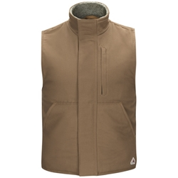 Bulwark FR Mens Sherpa Lined Brown Duck Vest winterwear, flame, frc, resistant, retardant, fire, arc, flash, warm, outerwear