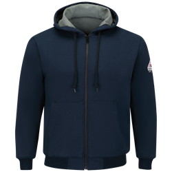 Bulwark FR Thermal Lined Zip Front Hooded Sweatshirt - Navy flame, resistant, retardant, frc, arc, flash, fire