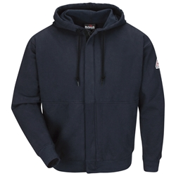 Bulwark FR Zip Front Hooded Cotton Blend Sweatshirt - Navy flame, resistant, retardant, workwear, sweat, shirt, hooded, full, zipper, fire, arc, flash