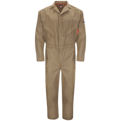 Bulwark FR iQ Series Endurance Premium Coverall - Khaki flame, resistant, retardant, arc, flash, fire, ppe, cat 2, westex, ripstop, twill, tan, beige, brown
